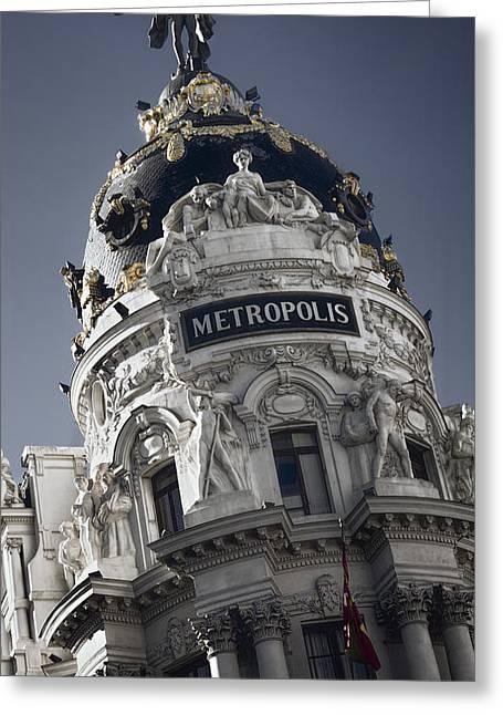 Historic Statue Greeting Cards - Metropolis Madrid Greeting Card by Joan Carroll