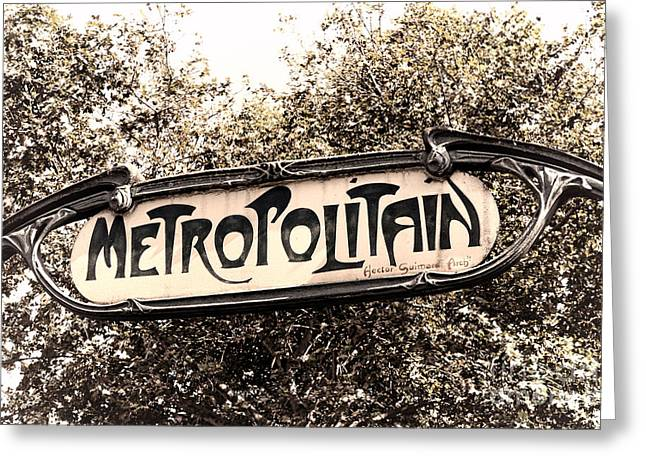 Art Nouveau Style Greeting Cards - Metropolitain Greeting Card by Olivier Le Queinec