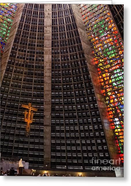 St Sebastian Greeting Cards - Metropolitan Cathedral of Rio de Janeiro Greeting Card by Jon Berghoff