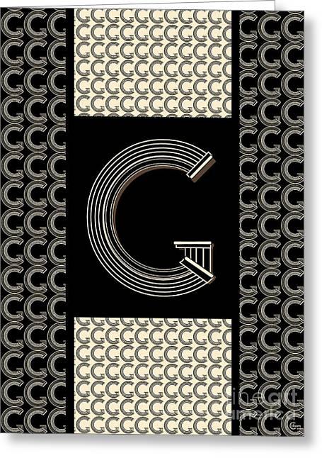 Shower Head Digital Art Greeting Cards - Metropolitan Park Deco 1920s Art  monogram letter initial G Greeting Card by Cecely Bloom