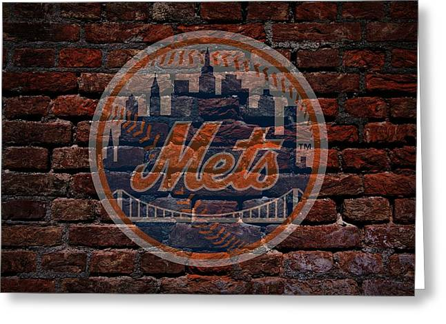 Cabin Wall Greeting Cards - Mets Baseball Graffiti on Brick  Greeting Card by Movie Poster Prints