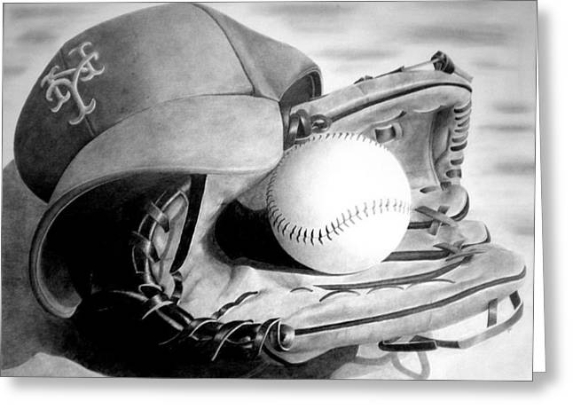 Gloves Drawings Greeting Cards - Mets Greeting Card by Jennifer Wartsky