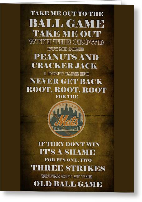 Cabin Wall Greeting Cards - Mets Peanuts and Cracker Jack  Greeting Card by Movie Poster Prints