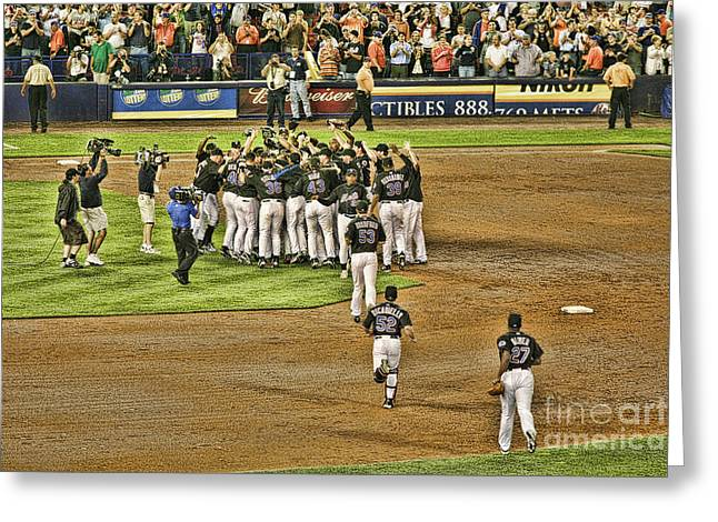 Baseball Art Photographs Greeting Cards - Mets take NL 2006 Greeting Card by Chuck Kuhn
