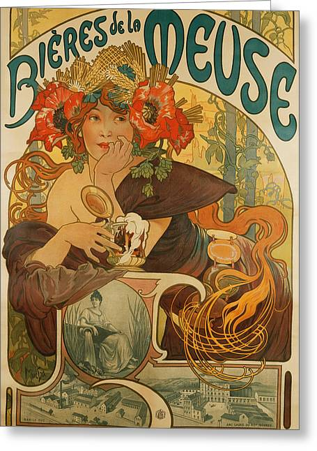 Model Drawings Greeting Cards - Meuse Beer Greeting Card by Alphonse Marie Mucha