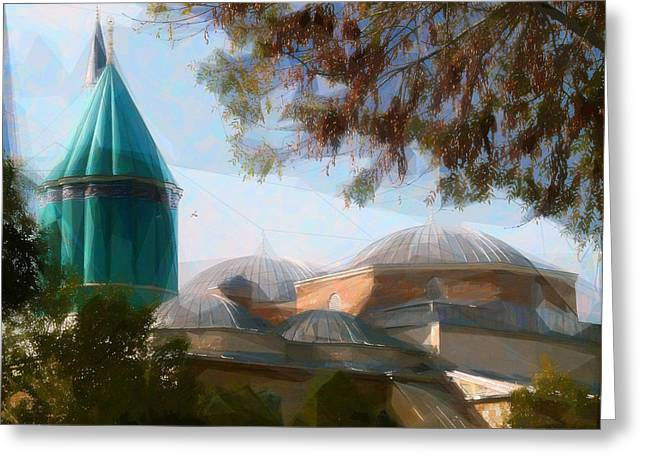 Domes Mixed Media Greeting Cards - Mevlana Rumi Mosque in Konya Turkey Greeting Card by Celestial Images