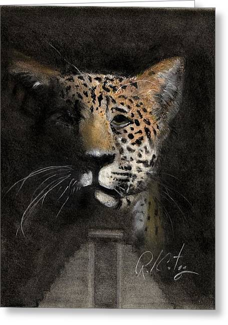 Jaguars Mixed Media Greeting Cards - Mexica Greeting Card by Ruben Cortez