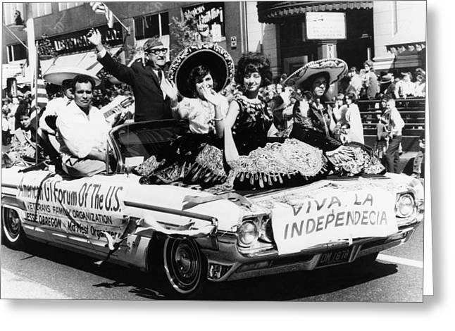 American Automobiles Greeting Cards - Mexican-american Parade Greeting Card by Granger