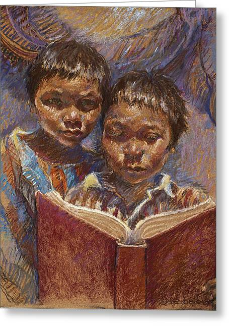 Book Pastels Greeting Cards - Mexican Brothers Reading Greeting Card by Ellen Dreibelbis