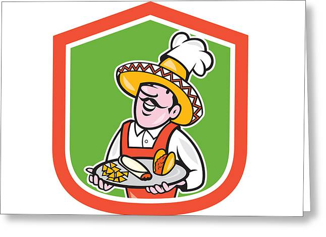 Chef Hat Greeting Cards - Mexican Chef Cook Shield Cartoon Greeting Card by Aloysius Patrimonio
