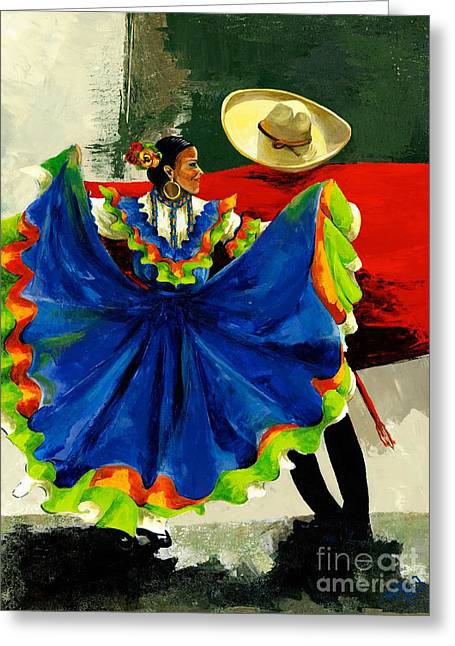 Green Hat Art Greeting Cards - Mexican Dancers Greeting Card by Elisabeta Hermann