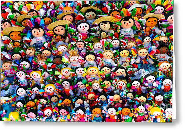 Hand Made Greeting Cards - Mexican Dolls Greeting Card by John Shaw