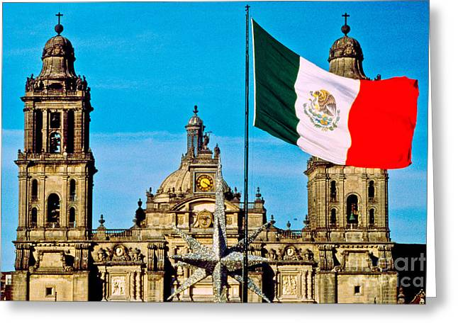 Symbolizes Greeting Cards - Mexican Flag And Cathedral Greeting Card by Spencer Grant