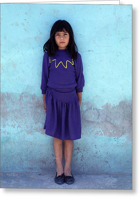 Indifferent Greeting Cards - Mexican Girl Purple Dress Greeting Card by Mark Goebel