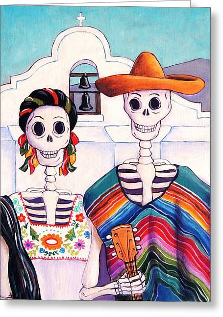 Calaveras Greeting Cards - Mexican Gothic Greeting Card by Candy Mayer