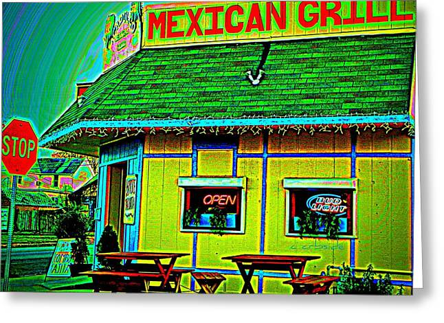 Avocado Green Greeting Cards - Mexican Grill Greeting Card by Chris Berry