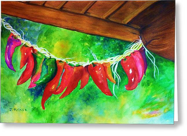 Poncho Paintings Greeting Cards - Mexican Jalapeno Peppers Greeting Card by Jane  Ricker