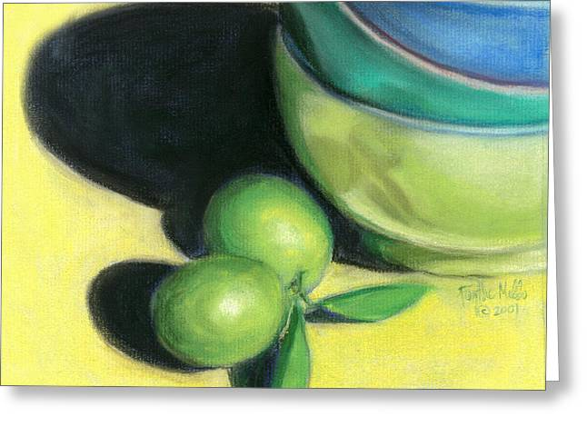 Lime Drawings Greeting Cards - Mexican Limes Greeting Card by Faythe Mills