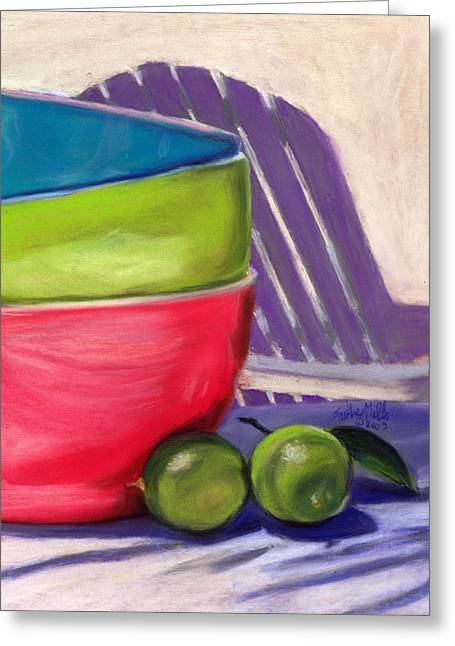 Lime Drawings Greeting Cards - Mexican Limes - II Greeting Card by Faythe Mills