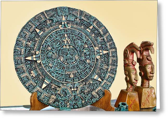 Acapulco Greeting Cards - Mexican Medic Disk in Torquoise Greeting Card by Linda Phelps