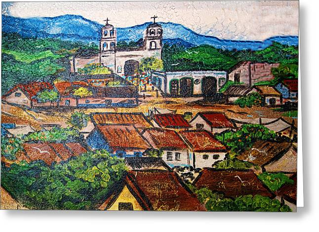 Hill Top Village Greeting Cards - Mexican Mural Greeting Card by Linda Phelps