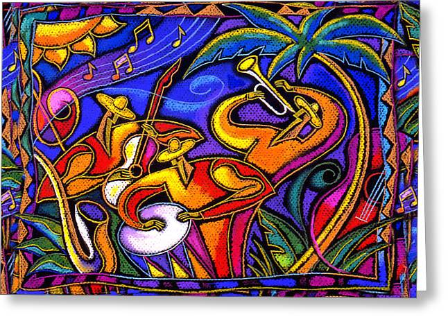 Cuban Greeting Cards - Mexican Music Greeting Card by Leon Zernitsky