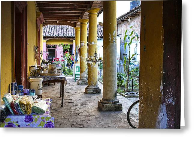 Colrful Greeting Cards - Mexican Patio Greeting Card by Martha Roque