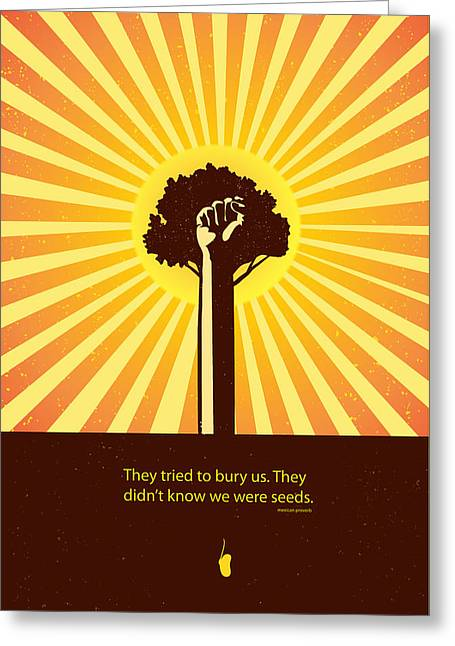 Movement Of Thought Greeting Cards - Mexican Proverb minimalist poster Greeting Card by Sassan Filsoof