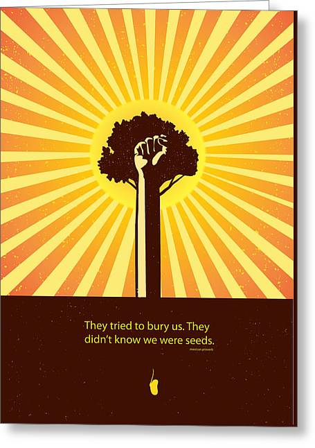 Obey Paintings Greeting Cards - Mexican Proverb minimalist poster Greeting Card by Sassan Filsoof