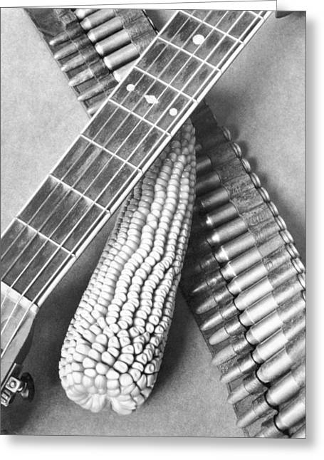 Ammunition Greeting Cards - Mexican Revolution, Guitar, Corn Greeting Card by Tina Modotti