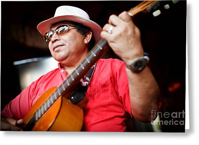 Mayan Character Greeting Cards - Mexican Street Musician  Greeting Card by Miroslaw Oslizlo
