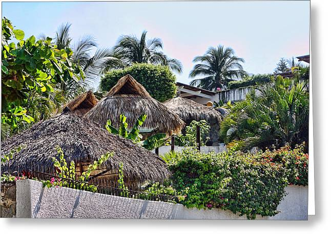 Acapulco Greeting Cards - Mexican Thathed Roofs Greeting Card by Linda Phelps