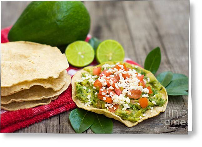 Avocado Green Greeting Cards - Mexican Tostadas Greeting Card by Aged Pixel