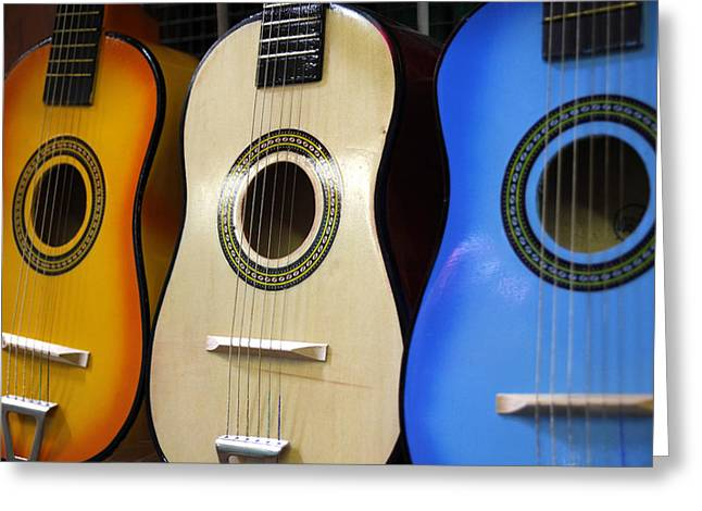 Mexican Toy Guitars Greeting Card by Mark Langford