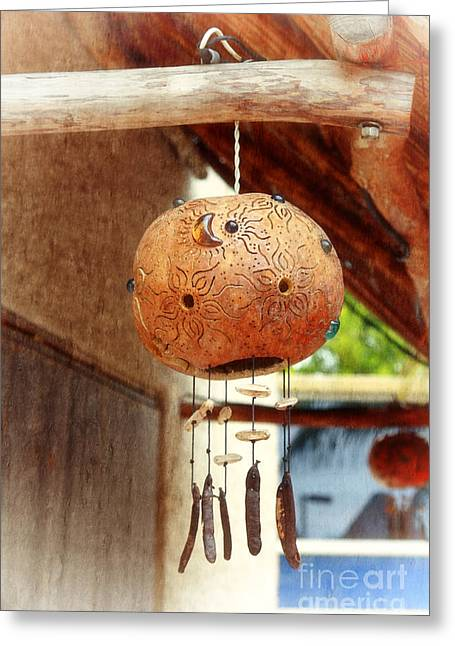 Wind Chimes Greeting Cards - Mexican Wind Chime Lamp Greeting Card by Charline Xia