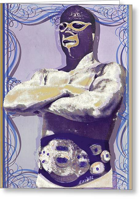 Mexican Fighters Greeting Cards - Mexican wrestler Lucha libre  Greeting Card by Tony Rubino