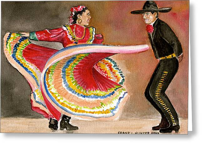 Outfit Paintings Greeting Cards - Mexico City Ballet Folklorico Greeting Card by Frank Hunter