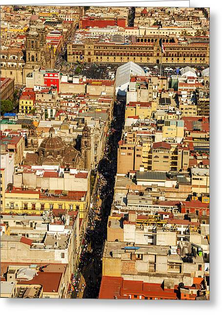 Mexico City Photographs Greeting Cards - Mexico City Cathedral and Zocalo Greeting Card by Jess Kraft