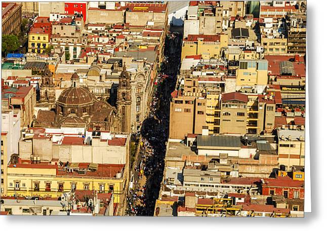 Mexico City Cathedral and Zocalo Greeting Card by Jess Kraft