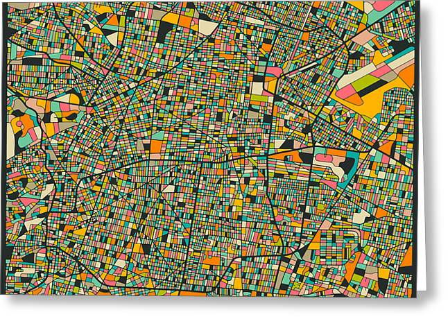 Mexico City Digital Greeting Cards - Mexico City Map Greeting Card by Jazzberry Blue
