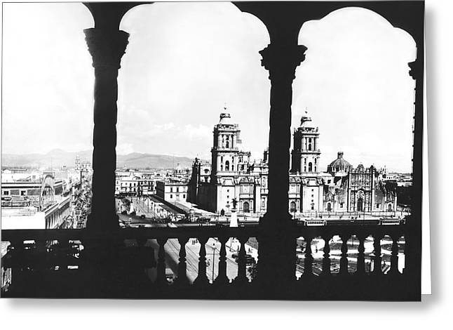 Mexico City Plaza Greeting Card by Underwood Archives