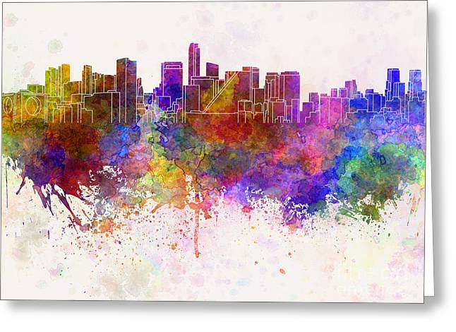 Mexico City Paintings Greeting Cards - Mexico City skyline in watercolor background Greeting Card by Pablo Romero