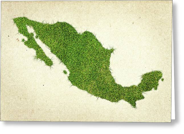 Planet Map Mixed Media Greeting Cards - Mexico Grass Map Greeting Card by Aged Pixel