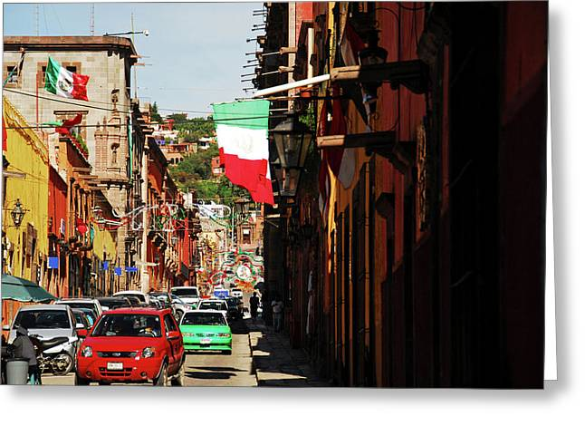 Mexico, San Miguel De Allende, Flag Greeting Card by Anthony Asael
