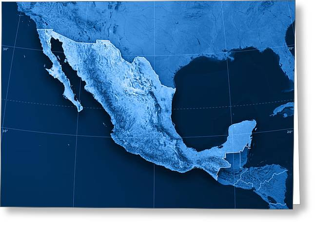 Cartography Greeting Cards - Mexico Topographic Map Greeting Card by Frank Ramspott