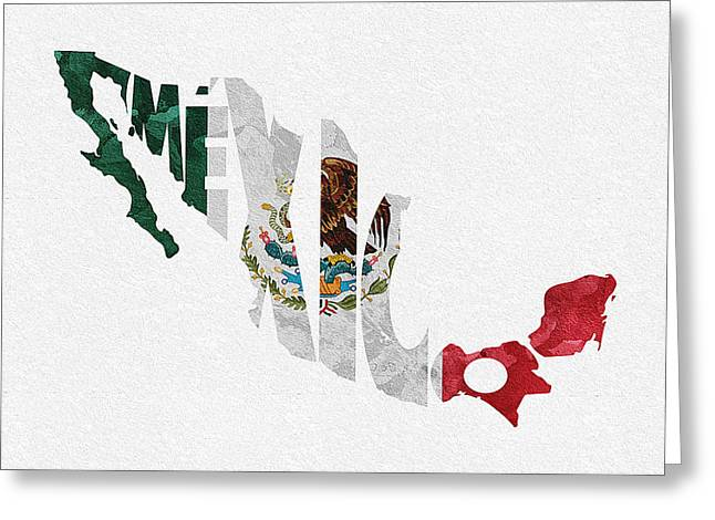 Abstract Map Greeting Cards - Mexico Typographic Map Flag Greeting Card by Ayse Deniz