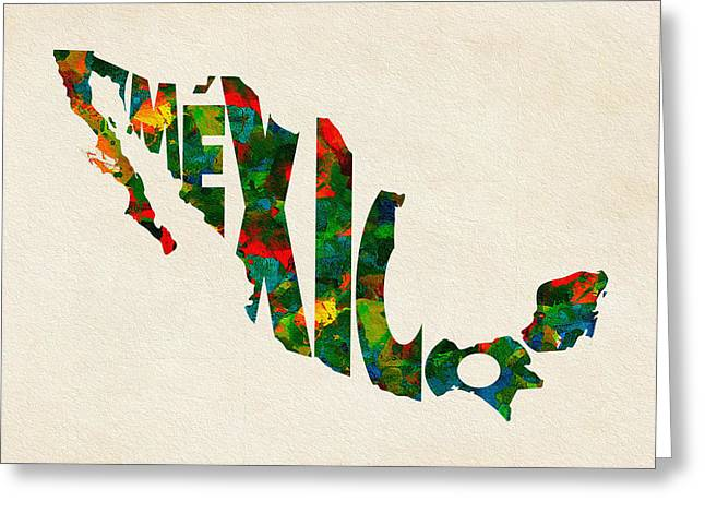 Mexico Typographic Watercolor Map Greeting Card by Ayse Deniz