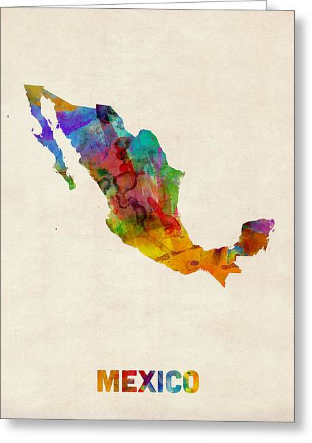 Maps Greeting Cards - Mexico Watercolor Map Greeting Card by Michael Tompsett