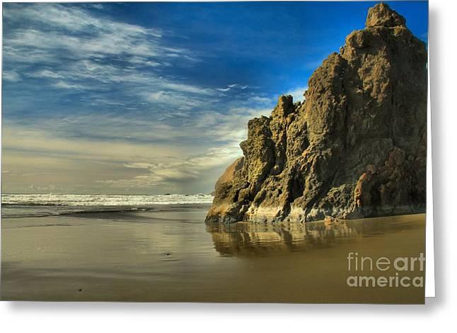 Meyers Beach Stacks Greeting Card by Adam Jewell