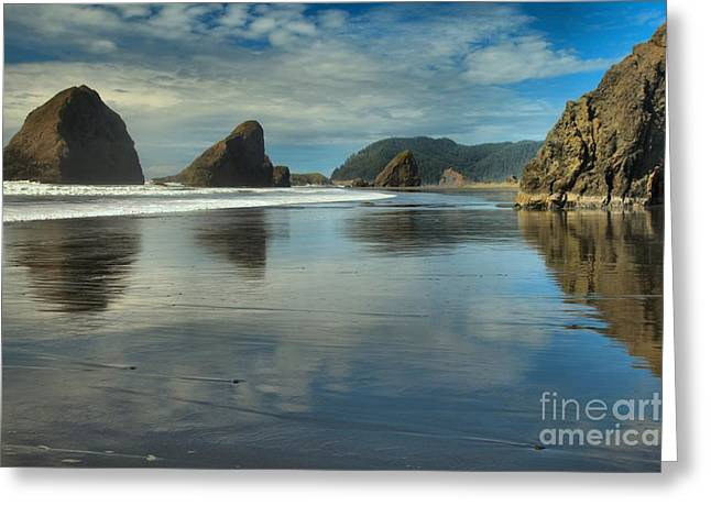 Meyers Creek Sea Stack Blues Greeting Card by Adam Jewell